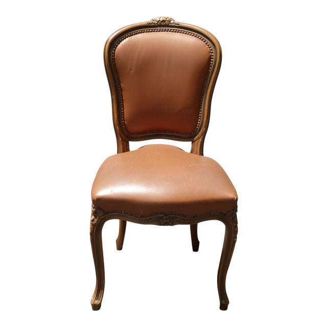French Provincial Style Brown Leather Accent Chair For Sale