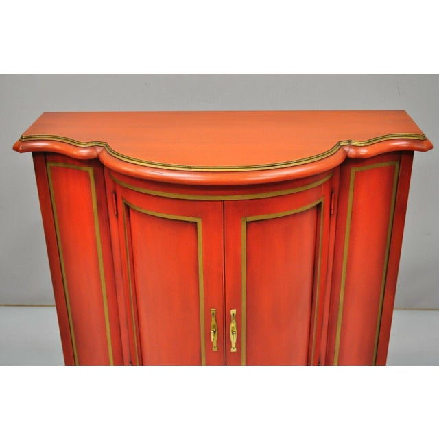 Wood Red Lacquer Medallion Ltd Demilune Chinoiserie Georgian Credenza For Sale - Image 7 of 13