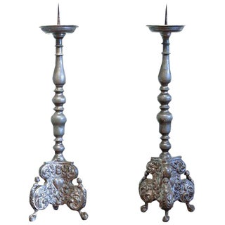 Late 18th Century German Pewter Prickets - a Pair