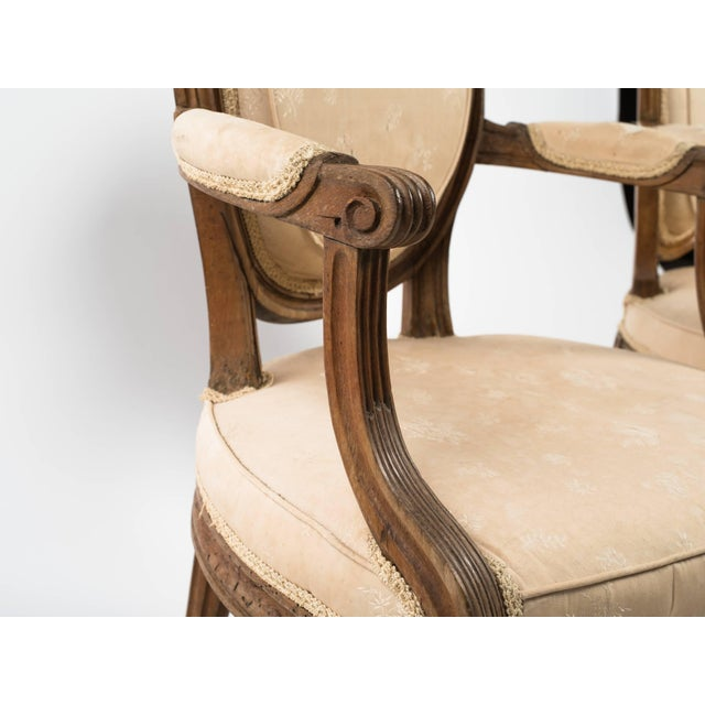 Wood 19th Century Vintage French Louis XVI Armchairs- a Pair For Sale - Image 7 of 11