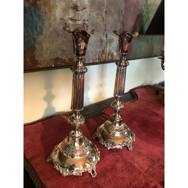 Traditional Sterling Judaic Sabbath Candlesticks - a Pair For Sale - Image 3 of 13