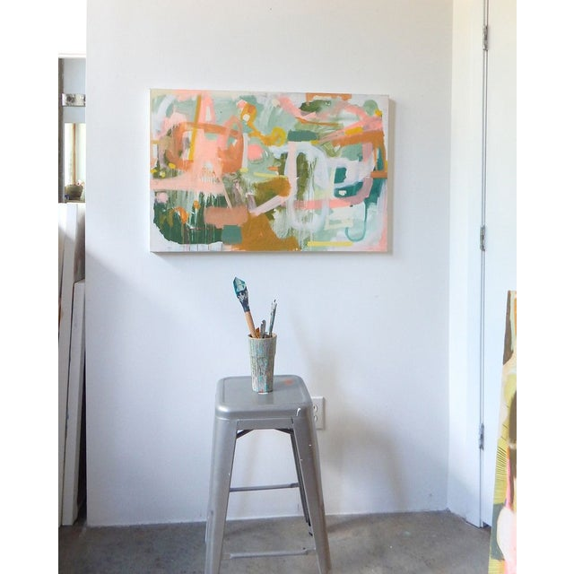 """A playful 24""""x36"""" piece by Michelle Armas entitled """"Monakel"""". The piece is in acrylic on a gallery wrap frame that is 1.5..."""