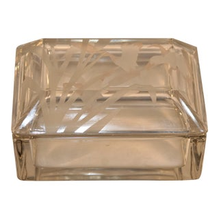 Vintage Duncan Miller Crystal Etched Glass Trinket Box For Sale