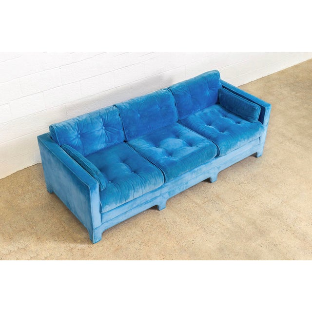 Blue Mid Century Blue Velvet Upholstered Three-Seat Sofa Couch 1970s For Sale - Image 8 of 11