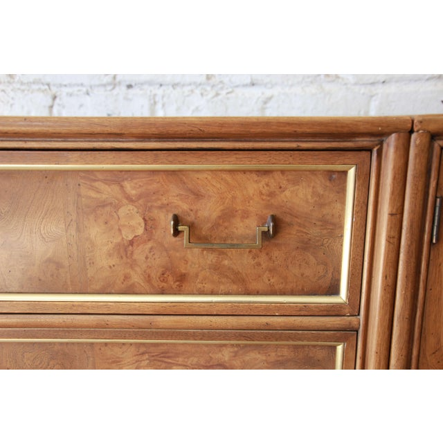 Bernhard Rohne for Mastercraft Burled Amboyna and Brass Mid-Century Credenza - Image 9 of 11