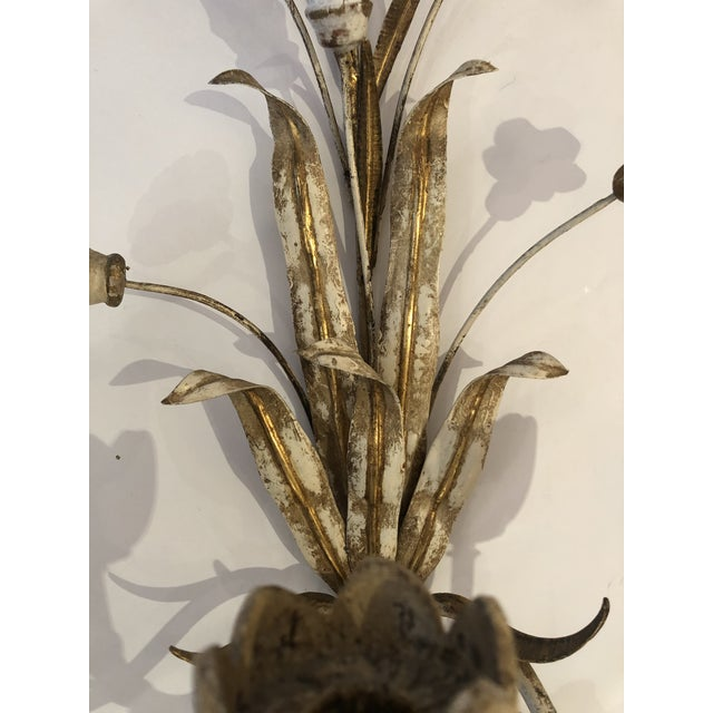 Gold Gold Gilt Iron Carved Wood French Tulip Motife Candle Sconces -Pair For Sale - Image 8 of 13