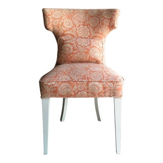 1950s Vintage Peaches and Cream Curved T-Back Chair For Sale