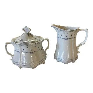 Tirschenreuth Baronesse Fleur De Lis Porcelain China Creamer & Sugar Bowl, 1838 Pattern - 3 Pc. Set For Sale