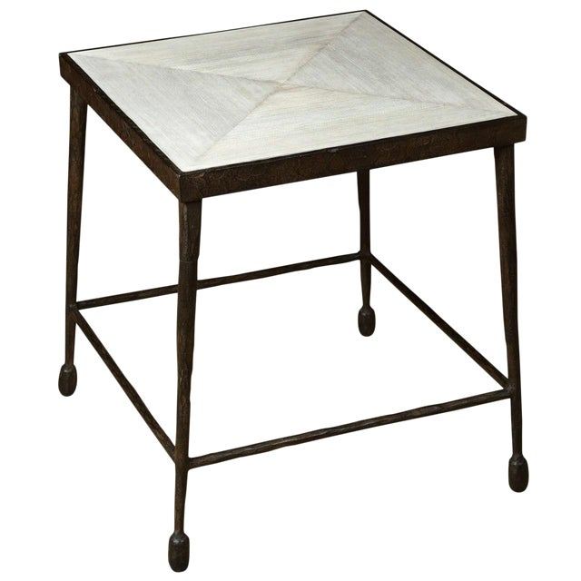 Paul Marra Iron and Douglas Fir Inset Side Table For Sale