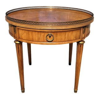 Vintage French Neo Classical Walnut Brass Gable Top Round Side Table For Sale