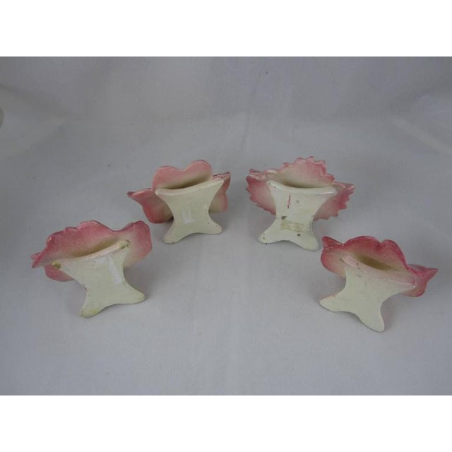 Delphin Massier French Majolica Pink Floral Place Card Holders - Set of 4 - Image 9 of 10