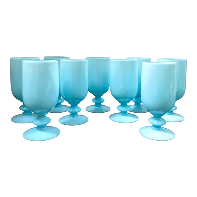 1930s Portieux Vallerysthal French Blue Opaline Cocktail / Low Stem Wine Glasses - Set of 9 For Sale