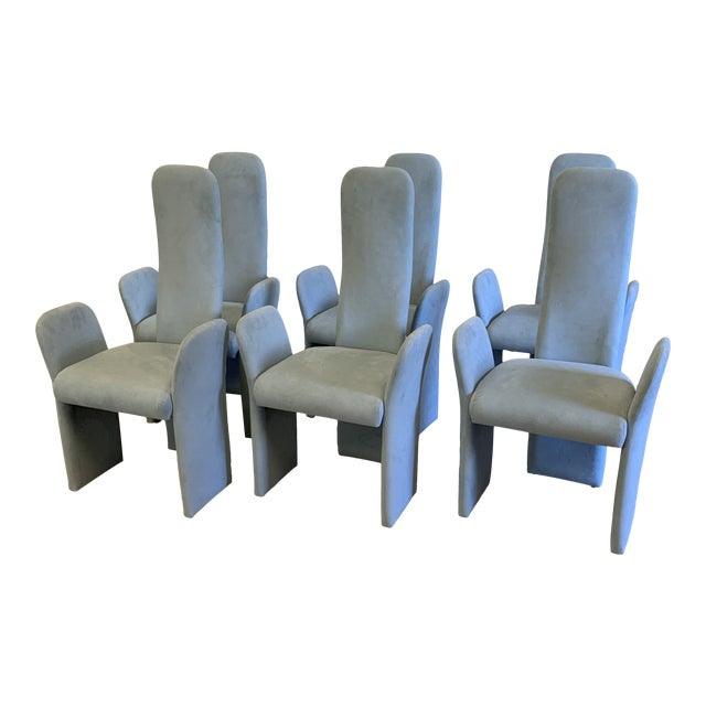 Saporiti-Style Ultra Suede High Back Dining Chairs -Set of 6 For Sale