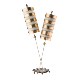 Nettle Luxe 2-light Double Buffet Table Lamp, Gold For Sale