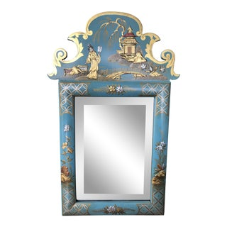 1970s Vintage Mid Century Chinoiserie Teal Lacquered Pagoda Textured Painting Dressing Mirror For Sale