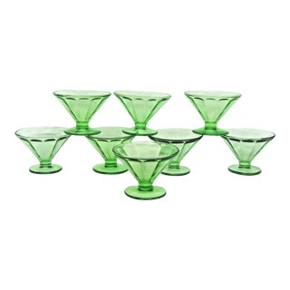 Federal Optic Panel Style Green Vaseline Glass Set of 8 Dessert Cups For Sale