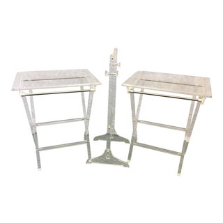 Vintage Lucite Folding Tray Tables - a Pair For Sale