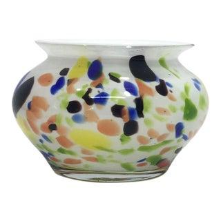 Italian Cased Murano Multicolor Vase For Sale