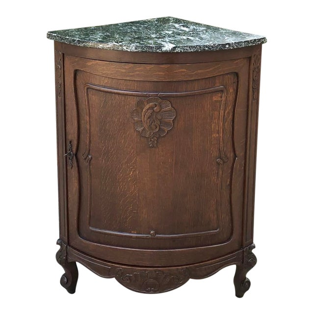 Antique French Louis XV Marble Top Corner Cabinet ~ Confiturier For Sale