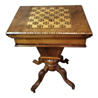 19th Century Fine English Regency Burl Walnut Marquetry Inlaid Games Table For Sale