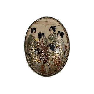 Antique Japanese Geisha Porcelain Brooch For Sale