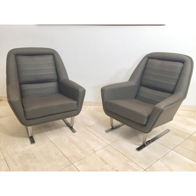 Metal 1970s Modernist Cantilever Club Lounge Chairs by Augusto Bozzi - a Pair For Sale - Image 7 of 12