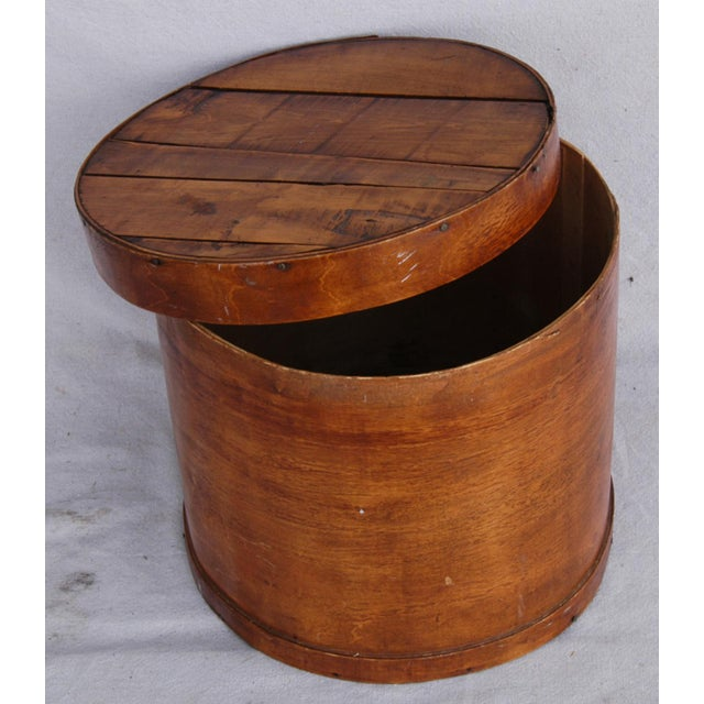 Vintage Rustic Round Wood Lidded Box - Image 8 of 11