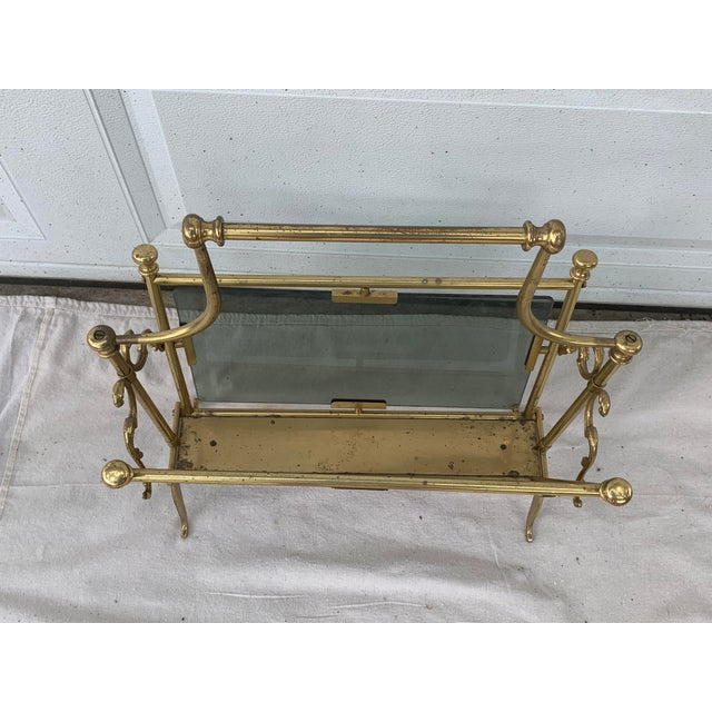 Maison Baguès Vintage Maison Bagues Brass and Smoked Glass Magazine Rack For Sale - Image 4 of 8