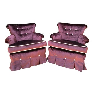 Pair of 1950's Hollywood Regency Purple Silk Velvet Tufted Club Chairs For Sale