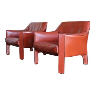 1990s Vintage Mario Bellini for Cassina Cab Lounge Chairs- A Pair For Sale