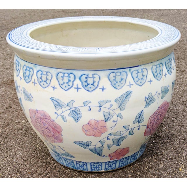 20th C Chinese Painted & Glazed Porcelain Roses Floral Fish Bowl Planter For Sale - Image 11 of 11