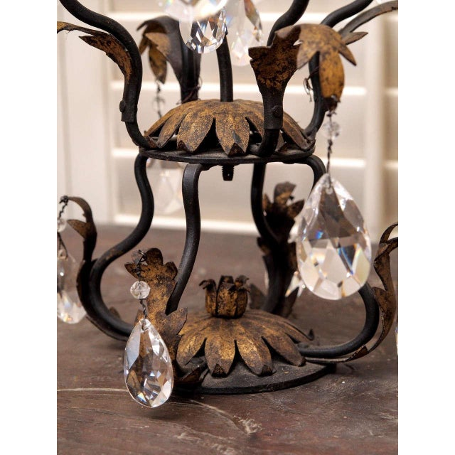 Pair of Gilt Iron and Crystal Girandoles For Sale - Image 4 of 8