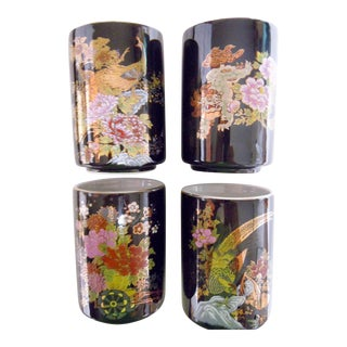 Japanese Cups Black With Gold Designs - Set of 4