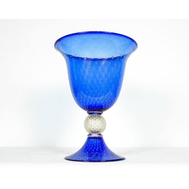 Very large Mid-Century Modern Cobalt Murano glass decorative piece with gold flecks. In excellent condition. This piece...