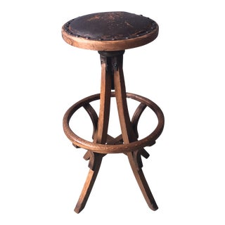 1930s Vintage Primitive Leather and Wood Industrial Swivel Stool For Sale