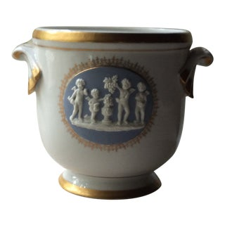 Antique French Porcelain Cachepot For Sale