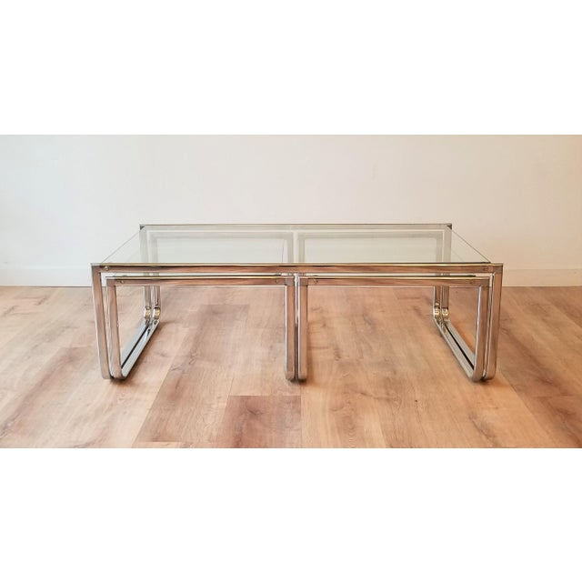 1970s 1970s Glass and Chrome Coffee Table With Nesting Side Tables Made in Italy For Sale - Image 5 of 10