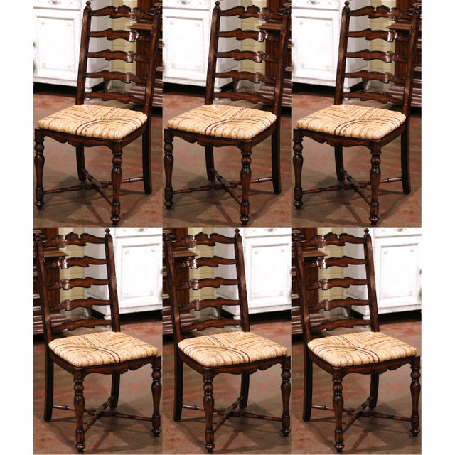Country French Carved Walnut Ladder Back Chairs With Rush Seat, Set of Six For Sale - Image 11 of 11