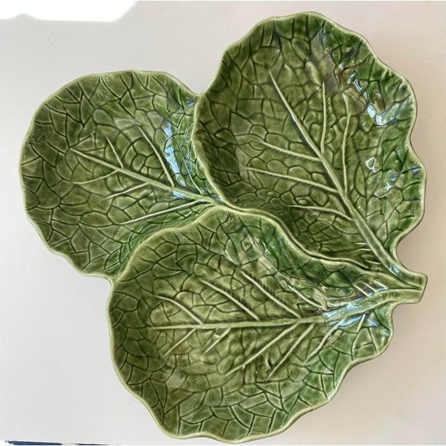 3 part cabbage leaf serving platter in excellent condition.