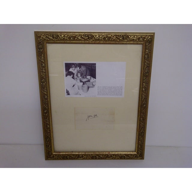 Vintage Photograph Plus An Article -- Jonas Salk Signed By -- Jonas Salk Article Shows Salk In His Lab At The University...