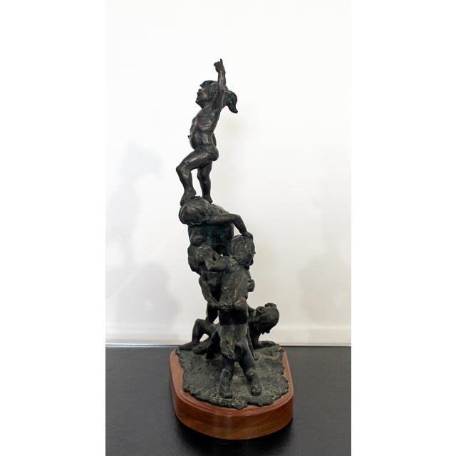 Mid Century Modern Bronze Table Sculpture Signed Edward Chesney 1972 For Sale - Image 4 of 10