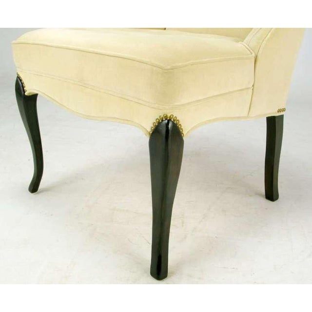 Pair 1940s Creamy Velvet Button-Tufted Slipper Chairs For Sale - Image 9 of 10