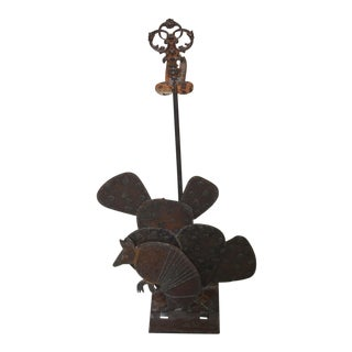 1990s Americana Hand Forged Welded/Cast Iron Armadillo/Cactus Fireplace Tools Holder For Sale