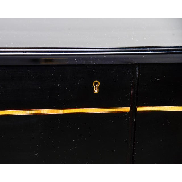 Mid Century Swedish Ebonized Two-Door Cabinet With New Brass Hardware For Sale - Image 4 of 11