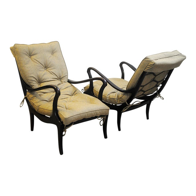 Pair of Two Lounge Chairs by Ezio Longhi 1950's, New Upholstery For Sale