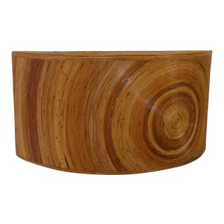 Vintage Boho Chic Pencil Reed Bamboo Wall Console For Sale