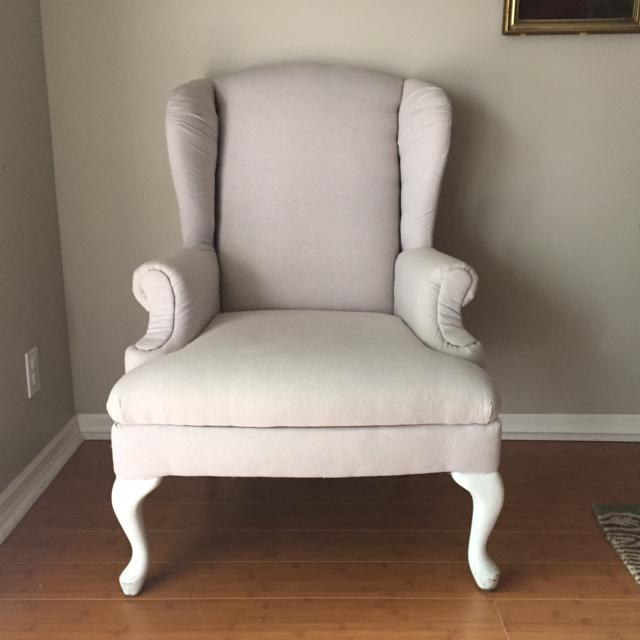 Vintage Neutral Linen Wingback Chair - Image 2 of 11