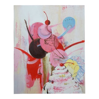 "1992 ""Pile"" by Margaret Curtis Surrealist Oil on Board Ice Cream Cherry Nude 20"" For Sale"