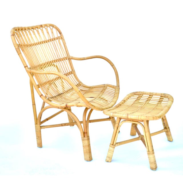 Vintage rattan bamboo lounge chair and ottoman in a natural finish. Nice and comfy.