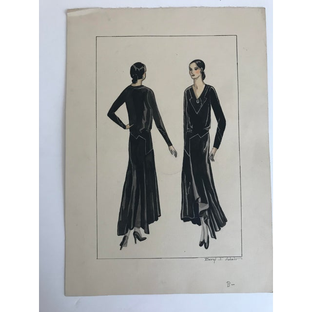 Blue Twelve Fashion Designs by University of Washington Student, 1929 For Sale - Image 8 of 13